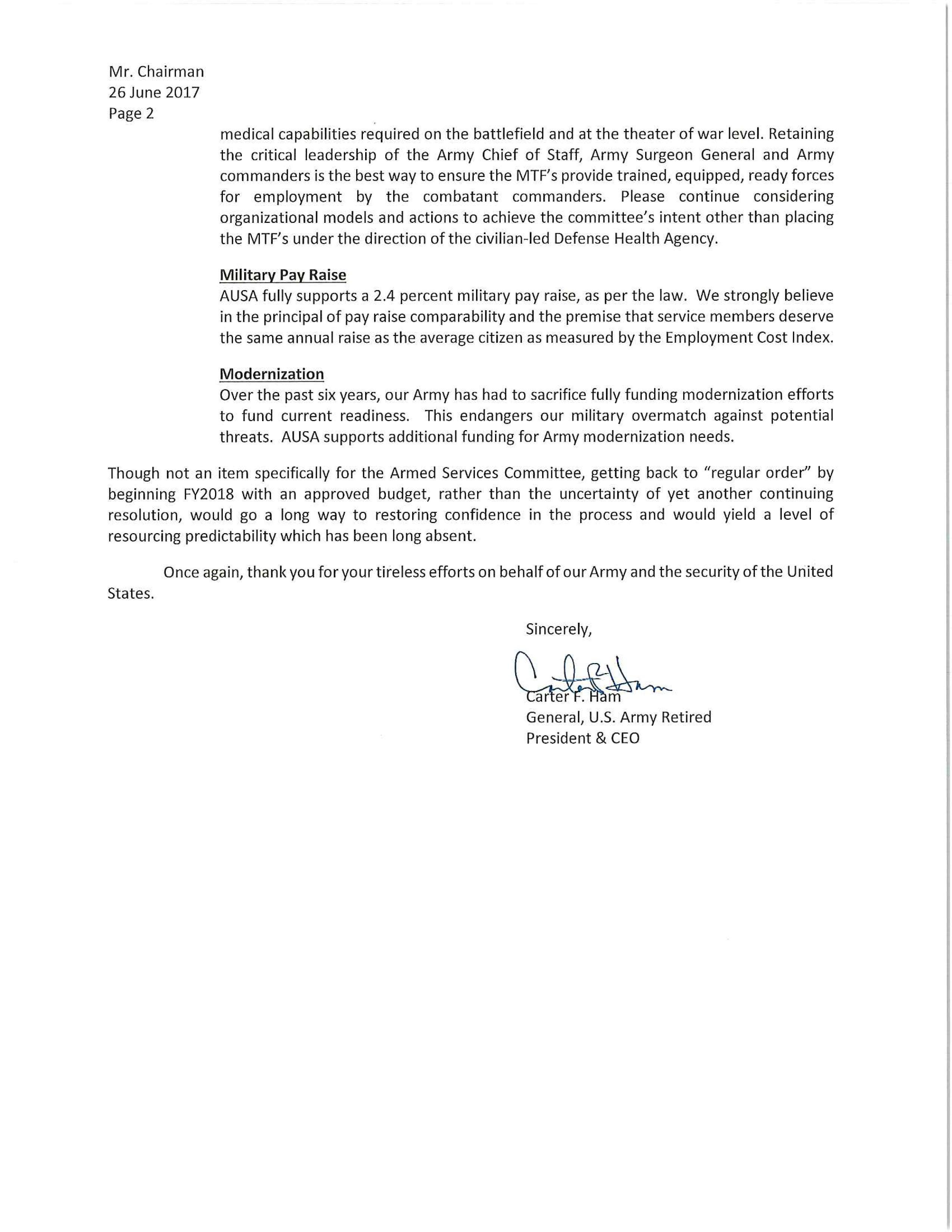 AUSA Carter Ham Letter to John McCain