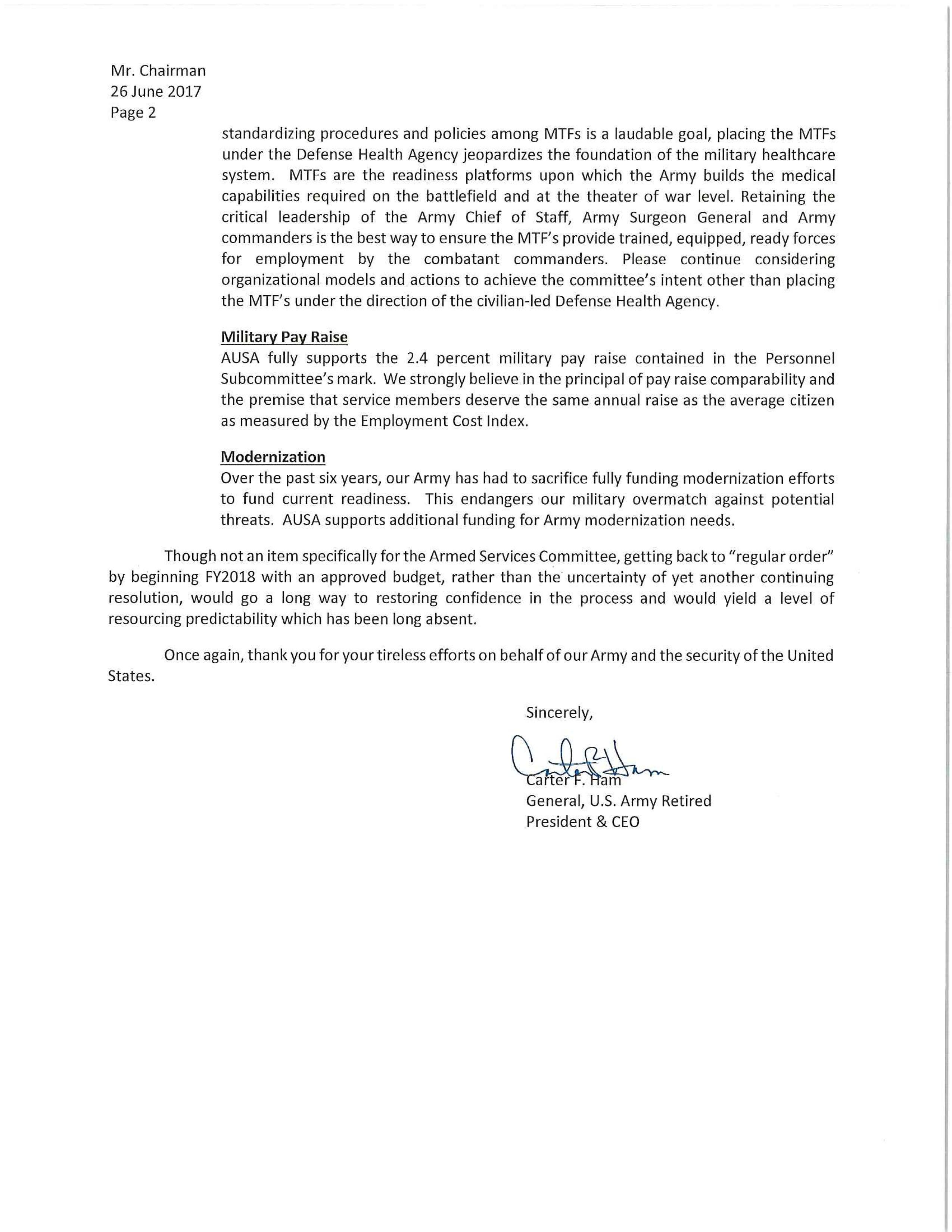 AUSA Carter Ham Letter to Mac Thornberry