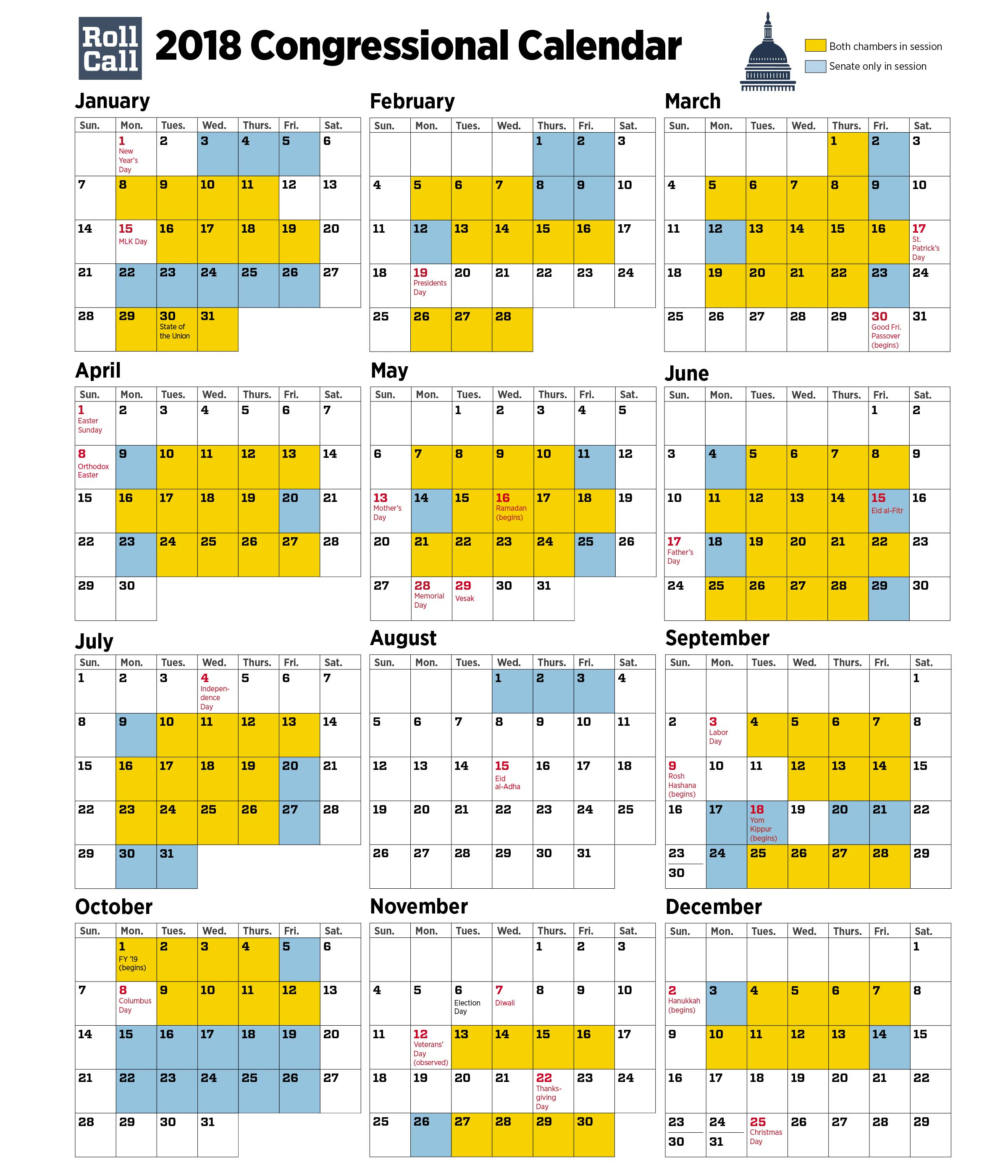 2018 congressional calendar created by cq roll call
