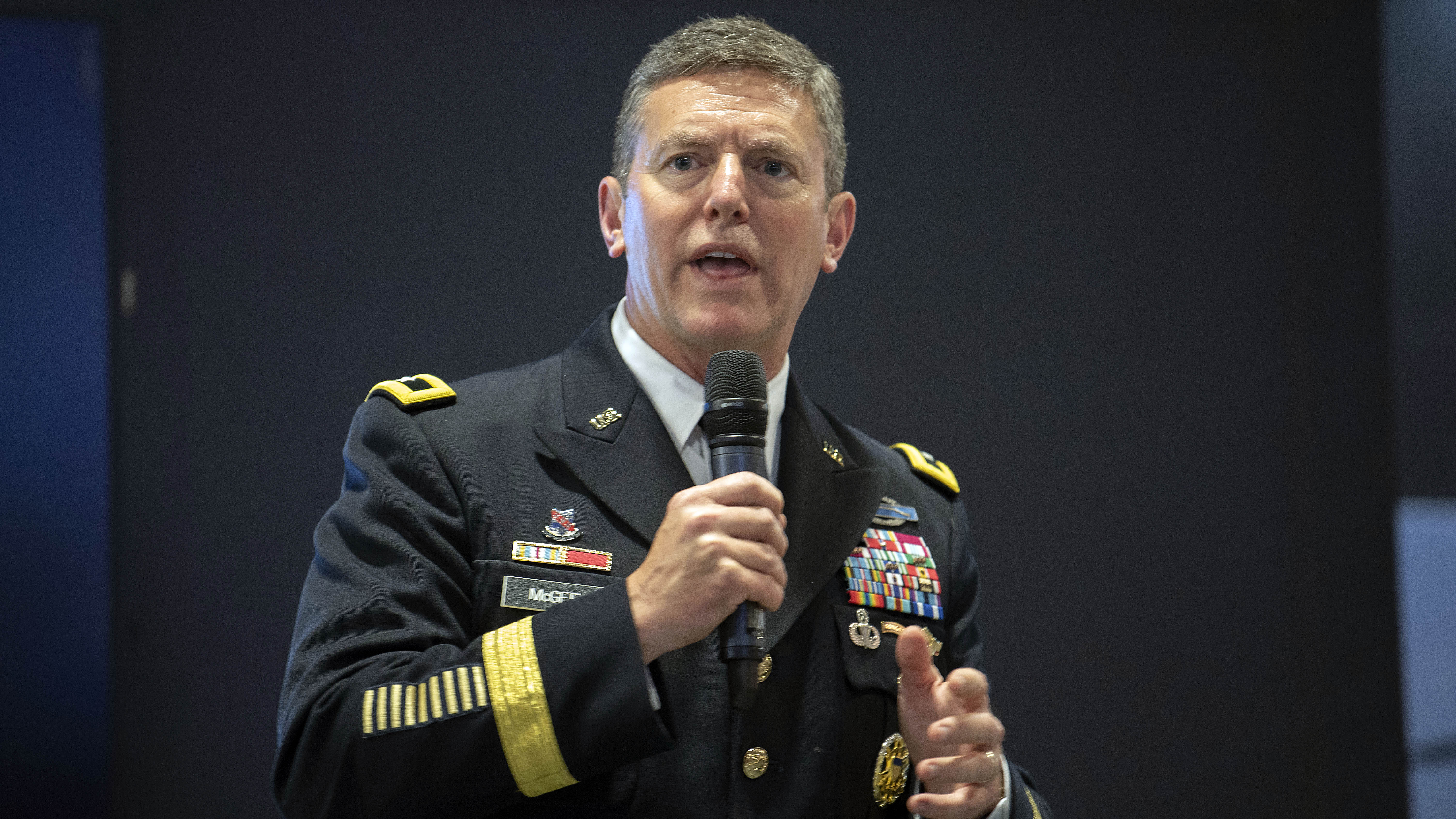 MG Joseph McGee speaks during the Army Talent Alignment Process seminar at the 2019 AUSA Annual Meeting and Exposition at the Washington Convention Center on Oct. 15, 2019.