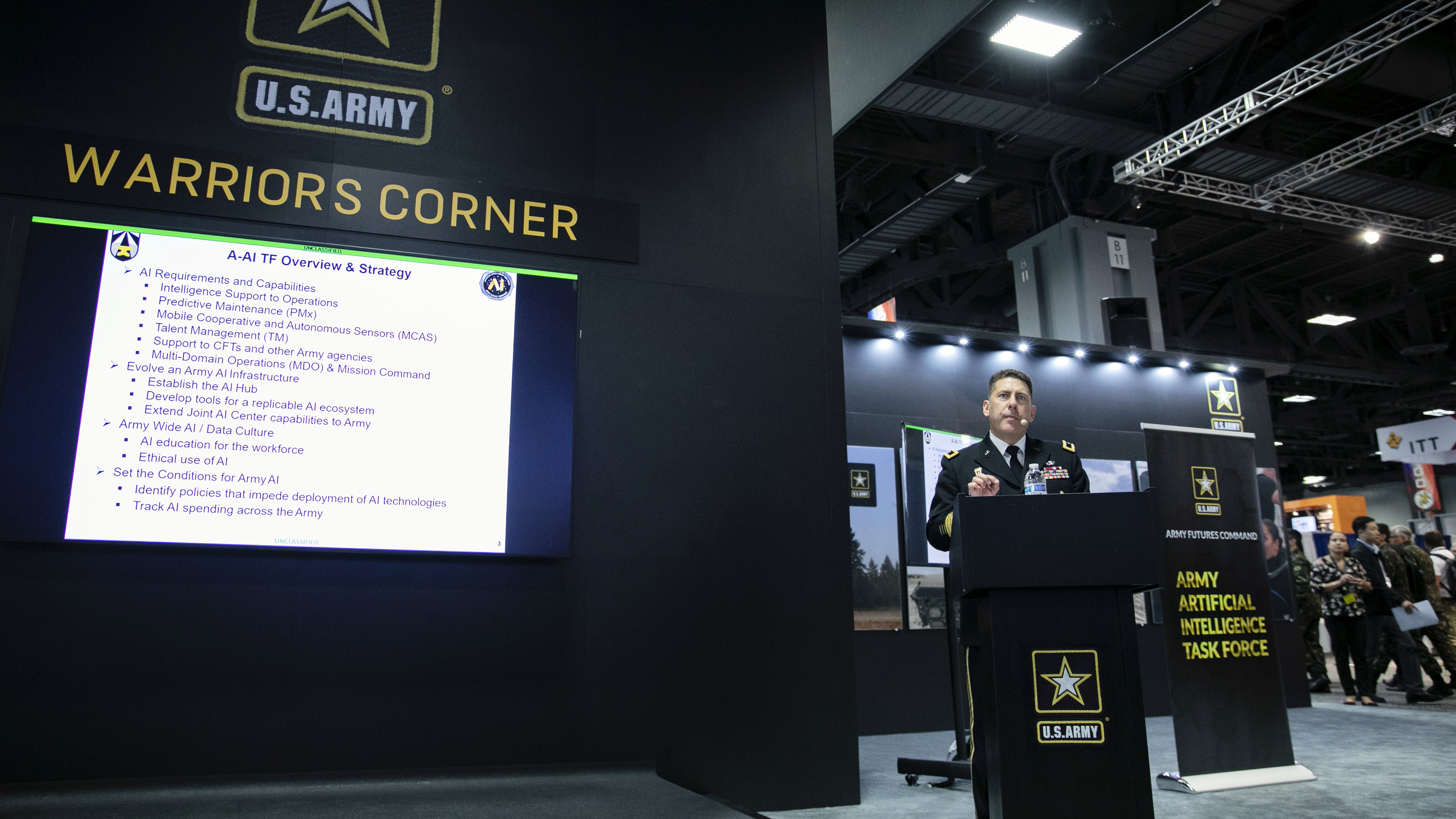 Brigadier General Matthew Easley addresses attendees at the Artificial Intelligence workshop at the 2019 AUSA Annual Meting and Exposition at the Washington Convention Center on Oct. 14, 2019.