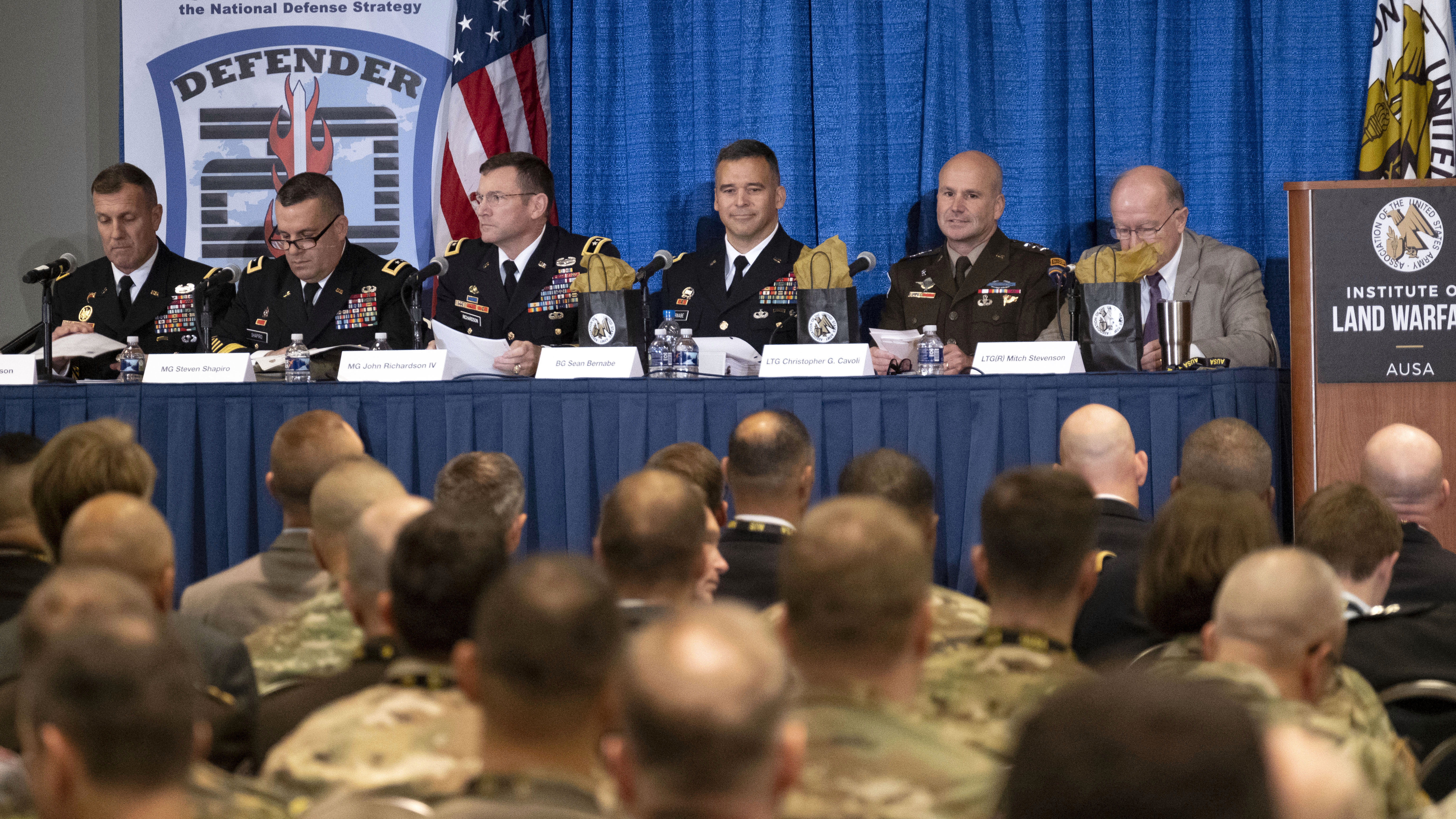 A panel of experts, including Lt. Gen. J.T. Thomson, left, commanding general of NATO Allied Land Command, and Lt. Gen. Christopher Cavoli, second from right, commanding general of U.S. Army Europe, discuss the upcoming Defender-Europe 2020 exercise.