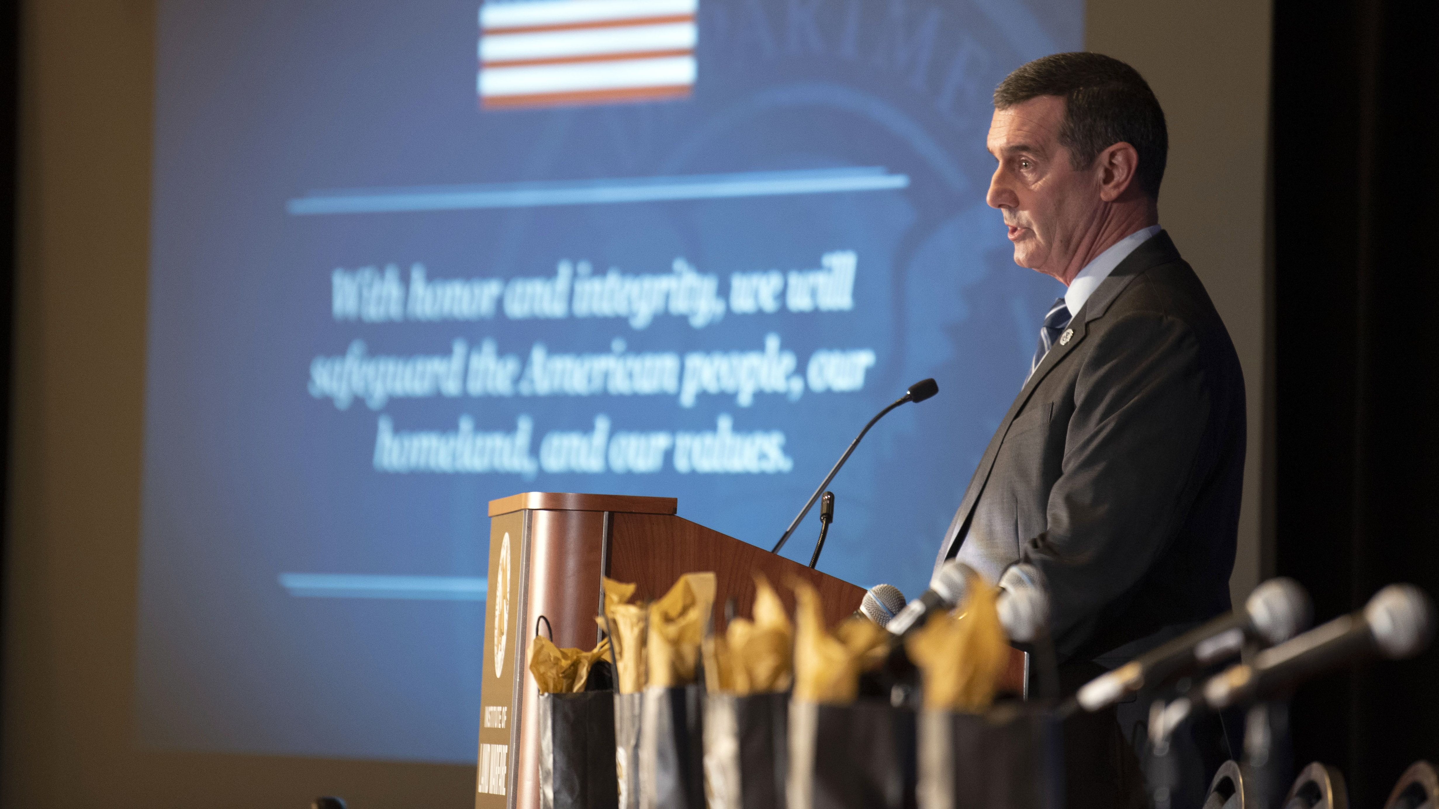 David Pekoske addresses the audience during the ILW Homeland Security Seminar: Multi-Domain Homeland Defense at the 2019 AUSA Annual Meeting and Exposition at the Washington Convention Center on Oct. 15, 2019.