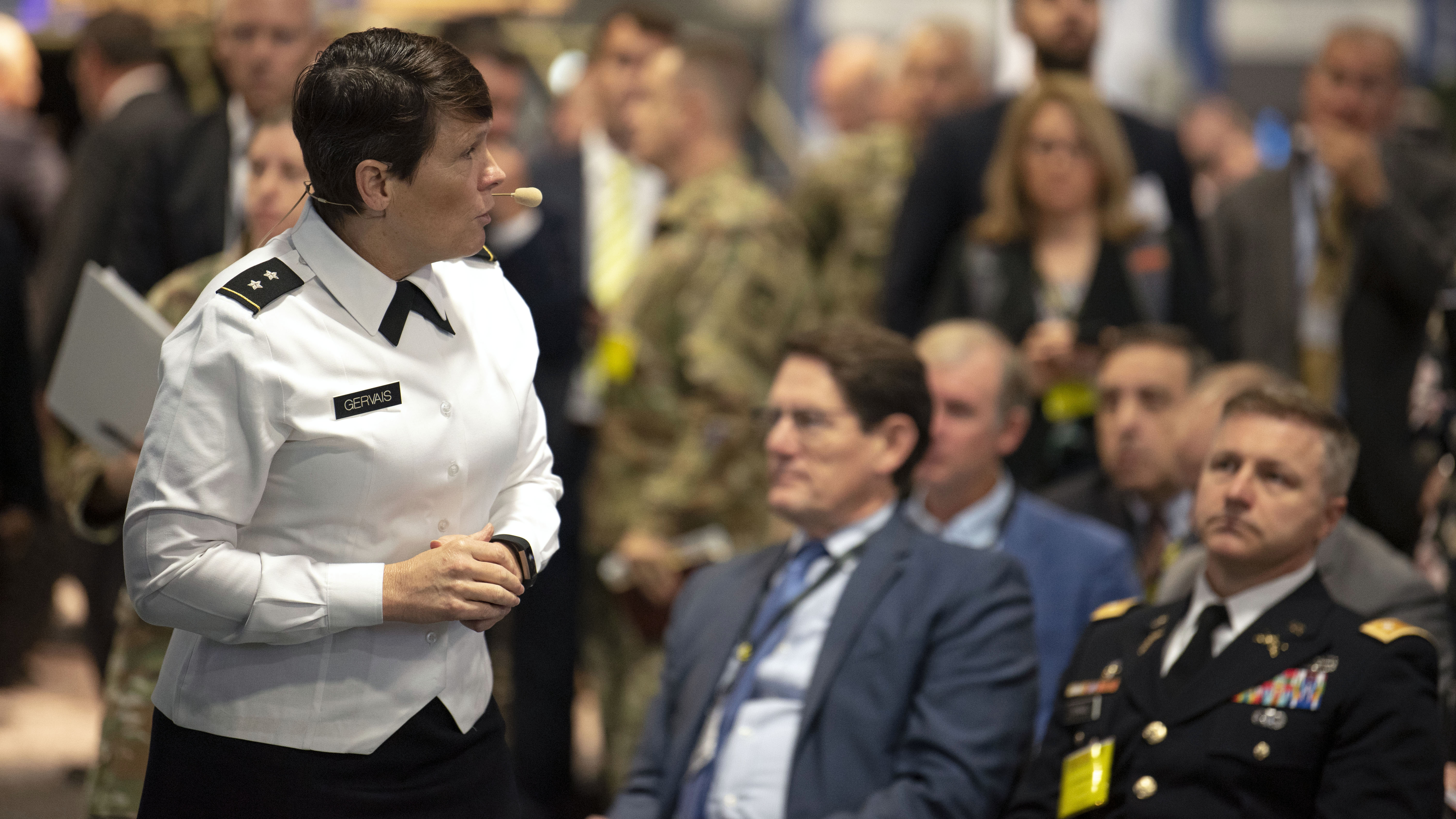 MG Maria Gervais speaks at the Revolutionizing Training Through the Synthetic Training Environment seminar at the 2019 AUSA Annual Meeting and Exposition at the Washington Convention Center on Oct. 15, 2019.