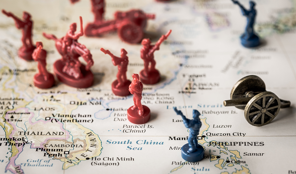 Map of China with toy soldiers