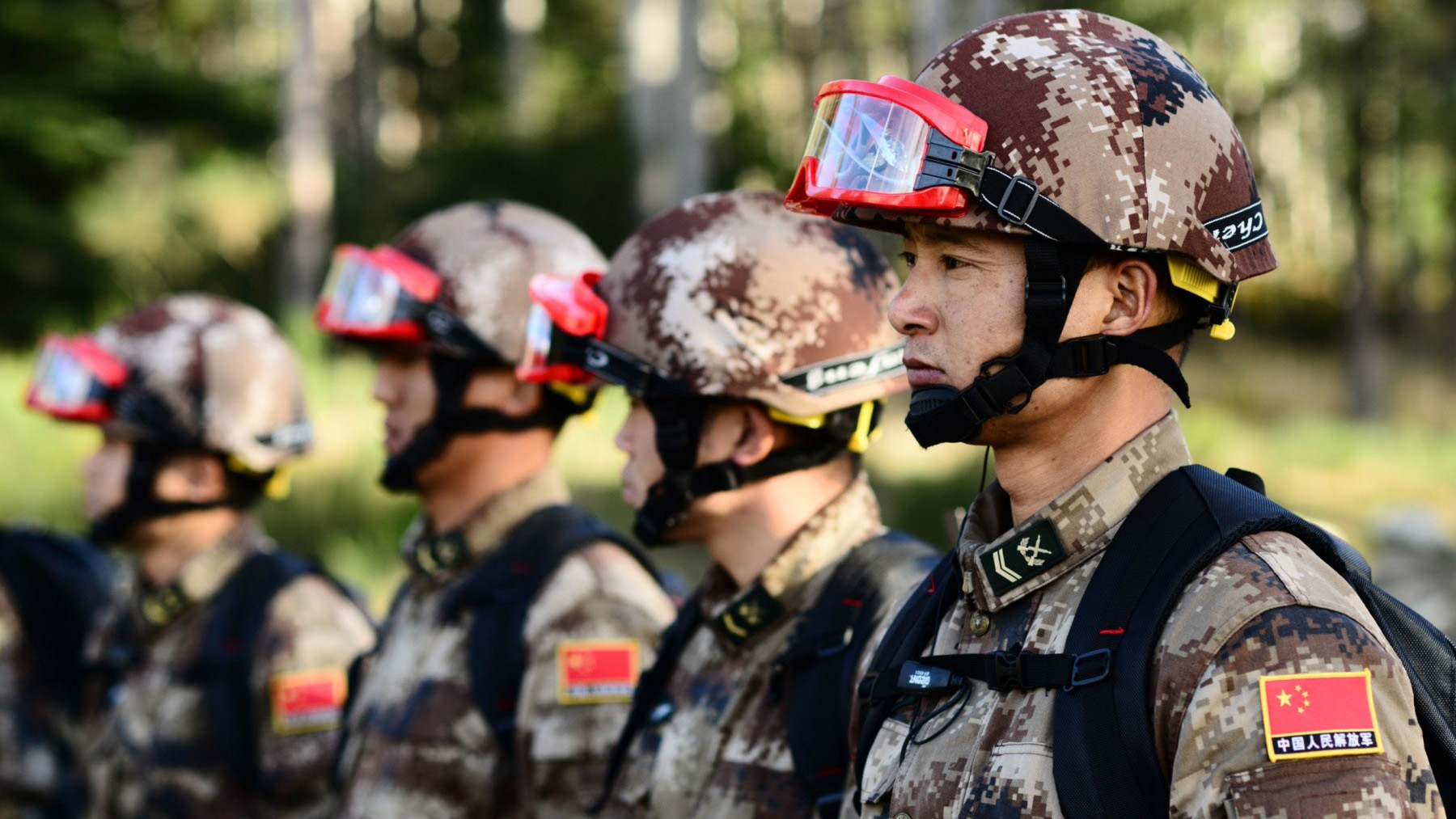 Chinese army soldiers in training