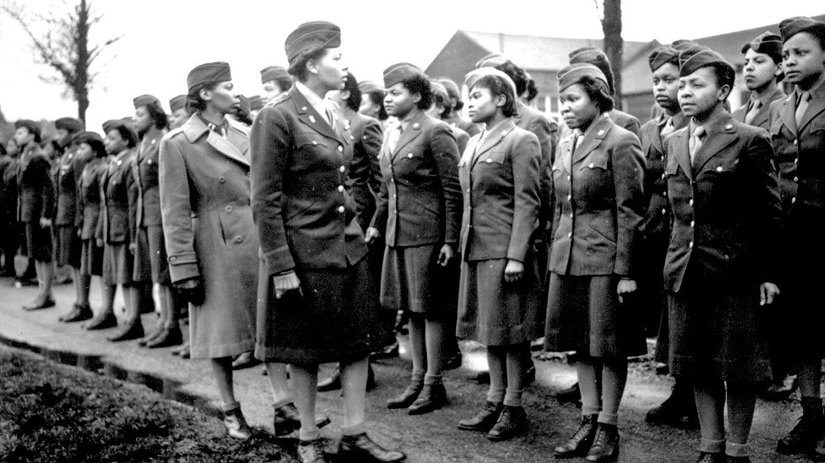 Women soldiers in lineup