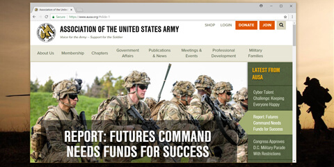 Screenshot of AUSA homepage