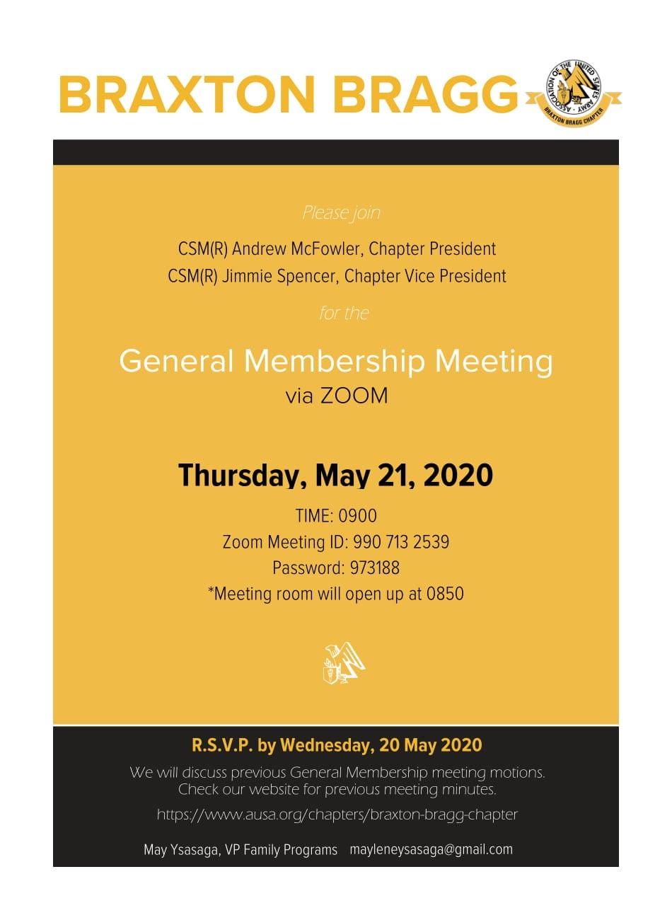 Braxton Bragg General Membership Meeting 21 May