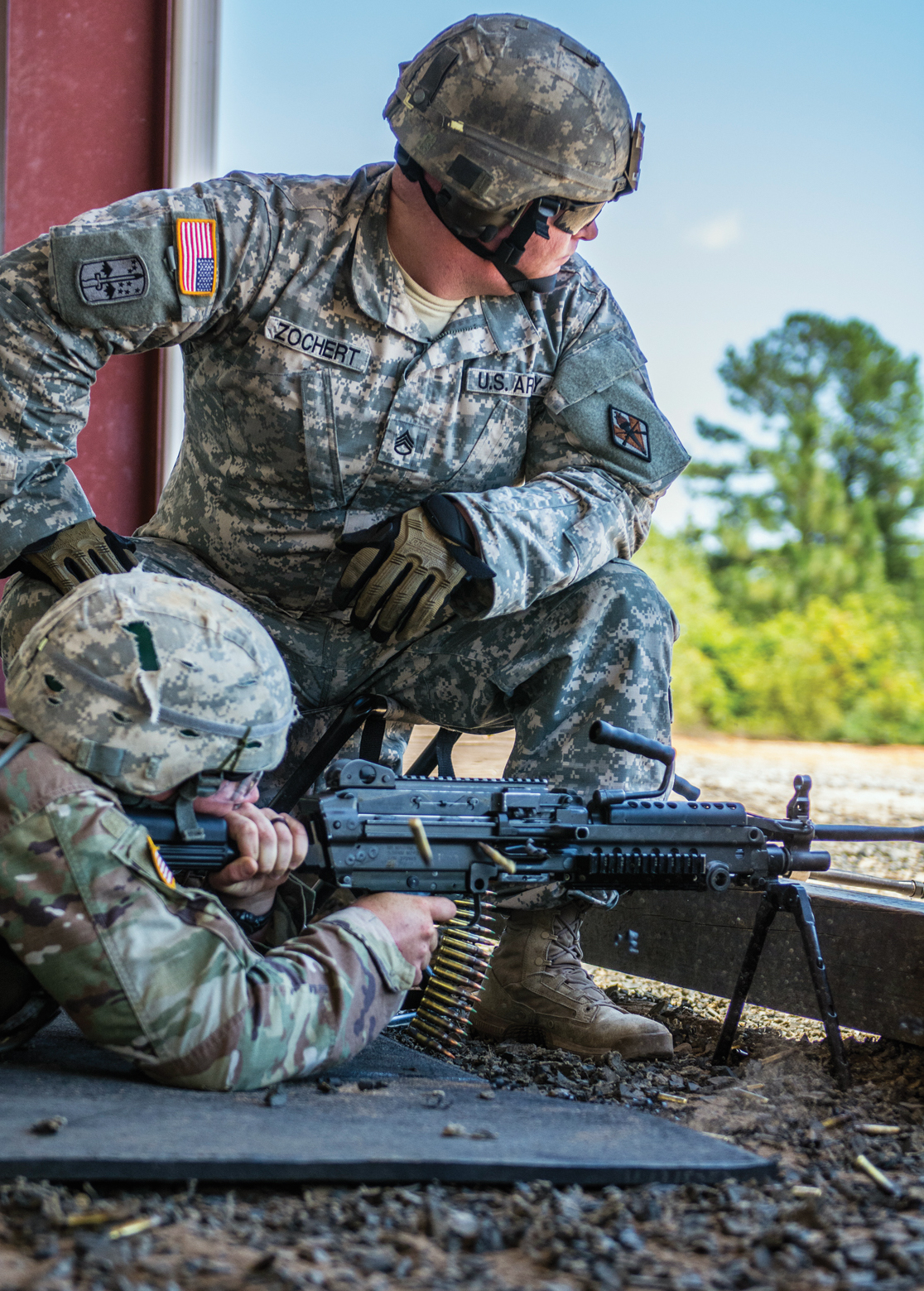 A soldier's aim is observed during basic combat training at Fort Jackson,  S.C.