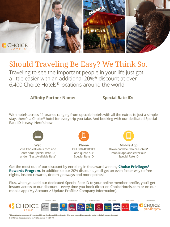 Choice Hotels Benefits Flyer