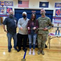 PCHS Coach Kim Worley, Frank Cannavo of AUSA, 1st place winner Layla Blevins, SFC Bradley Armentrout, Army Recruiter
