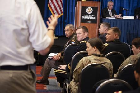 Gen. Michael Garrett listens as an audience member queries the panel at the ILW Forum Readiness panel discussion at the 2019 AUSA Annual Meeting and Exposition at the Washington Convention Center on Oct. 14, 2019.