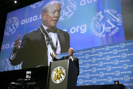 Gen. Martin Dempsey addresses the audience after being presented with the George Catlett Marshall Medal during closing ceremonies at the 2019 AUSA Annual Meeting and Exposition at the Washington Convention Center on Oct. 16, 2019.