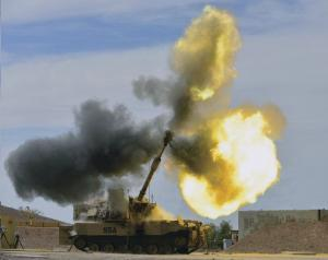 The M109A7 155 mm self-propelled howitzer fires at Yuma Proving Ground, Ariz